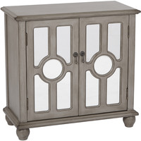 Kendra Storage Cabinet with Mirror Accents, Antique Taupe Finish