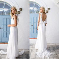 Elegant Chiffon Beach Wedding Dress 2017 Vestido De Noiva Appliques Handsome Backless Bohemian Wedding Dress Bridal Gowns