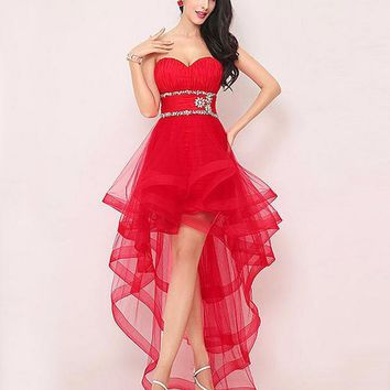 Tcmldr 2016 New Listing Charming Red Frilly Dress Beading Ruched Summer Sexy Strapless Romance High And Low Girl Prom Dresses