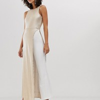 River Island sequinned jumpsuit in white and gold   ASOS