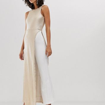 River Island sequinned jumpsuit in white and gold | ASOS