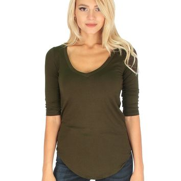 Lyss Loo Truly Madly Deep-V Neck 3/4 Sleeve Olive Tunic Top