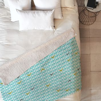 Heather Dutton Take Flight Aqua Fleece Throw Blanket