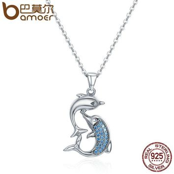 BAMOER Real 100% 925 Sterling Silver Love Dolphins Pendant Necklace Women Sterling Silver Jewelry Mother's Day Gift SCN168