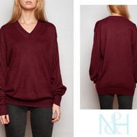 Vintage 70's Maroon Sweater with V-Neck