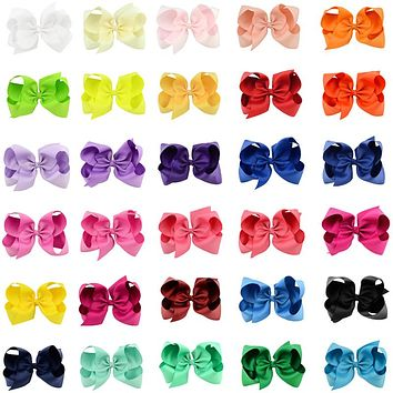 """30pcs/lot Girls Large 6"""" Hair Bows Clip Children Kids 6 Inch Big Bow HairClips Hairpin Princess Boutique Headwear Baby Barrettes"""