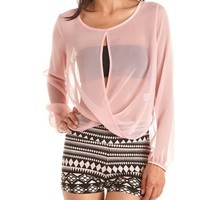 Double Surplice Chiffon Top: Charlotte Russe