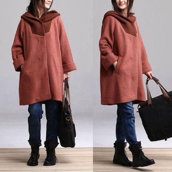 Red Camel thick woolen coat and long sections / hooded casual woolen jacket