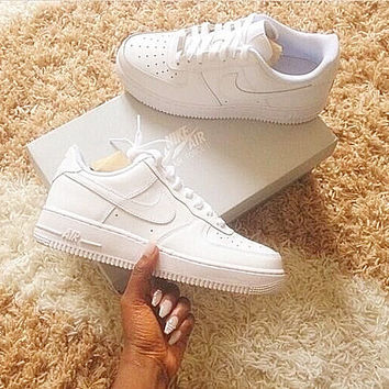 Women Men NIKE Running Sport Casual Shoes Sneakers Low help shoes Air force White