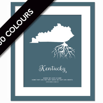 Kentucky Roots - State Map Art Print - Kentucky Map - Geography Poster - Kentucky Art Print - Kentucky Poster - Travel Art - Custom State