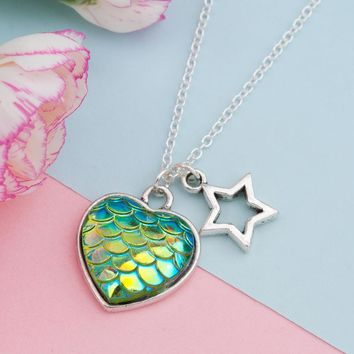 Heart Shape Mermaid Scales Necklace