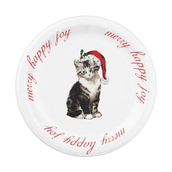 Vintage Santa Kitty Christmas Paper Plate 7 Inch Paper Plate