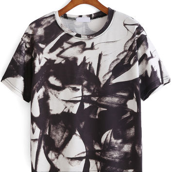 White Smoke Print Short Sleeve Graphic T-Shirt