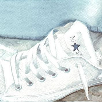Original watercolor painting white All Star Converse trainer under bed art
