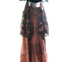 Vintage festy dress, Bohemian music festival sundress, Boho chic sundresses, Hippie chic dresses for summer, cinnamon, True rebel clothing