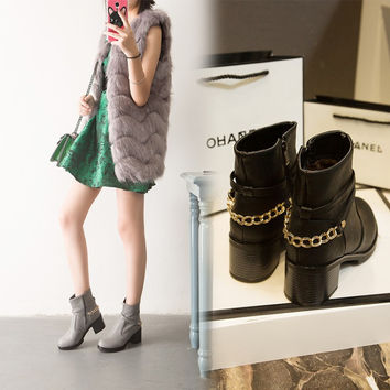 Hot Deal On Sale Metal Chain Winter Boots [6366197892]