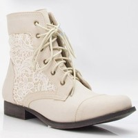 Nature Breeze Prima-01 Lace Round Toe Lace Up Bootie (5.5, Off-White)