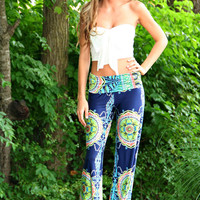 Navy Paisley Yoga Pants