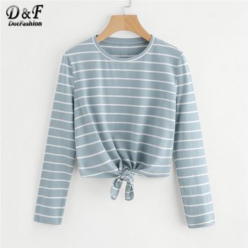 Dotfashion Knot Front Striped Casual Tee Shirt 2018 Spring New Arrival Round Neck Woman Top Long Sleeve  Crop T Shirt