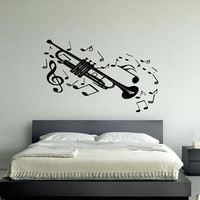 Wall Vinyl Sticker Decals Decor Kids Music Note Saxophone Sax Playing Jazz 111
