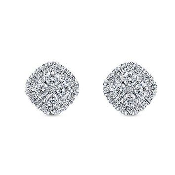Gabriel Cushion Shaped Cluster Stud Earrings