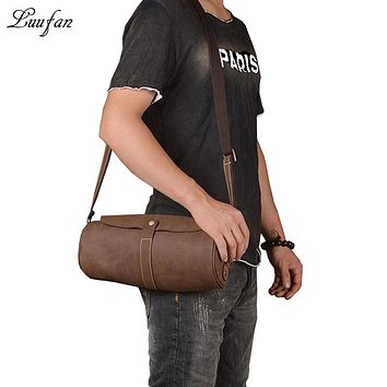 Men's Vintage crazy horse leather Messenger bag Fashion Real leather tube shoulder bag Cowhide Clutch wallet Bag casual satchel