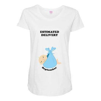 Estimated Delivery September Baby Boy Maternity Scoop Neck T-shirt