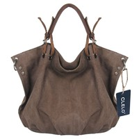 CLELO B406 Oversized Vintage Hobo Canvas Genuine Leather Tote Handbag Shoulder Bag, Coffee