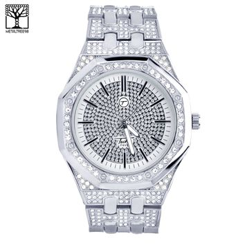 Jewelry Kay style Men's Fashion CZ Iced Techno Pave Heavy Silver Toned Metal Band Watch WM 8573 S