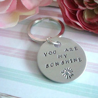 You Are My Sunshine Hand Stamped Keychain Design 2