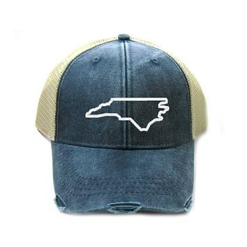 North Carolina Hat - Distressed Snapback Trucker Hat - North Carolina State Outline - Many Colors Available