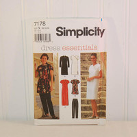 Simplicity 7178 Dress Essentials (c. 1996) Misses' and Misses Petite Size 10, 12, 14, Asian Influence, Dress, Top, Pants, Asymmetrical Style