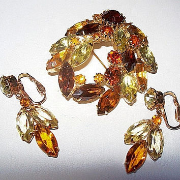 Weiss Brooch Earring Set Yellow & Amber Rhinestones Swag Floral Design Gold Metal Vintage