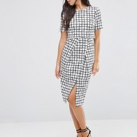 ASOS Textured Wrap Wiggle Dress In Check Print at asos.com