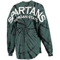 Women's Green Michigan State Spartans Spiral Tie-Dye Oversized Spirit Jersey Top