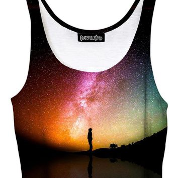 Reflection Rainbow Galaxy Crop Top