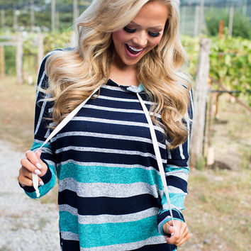 Midnight Drivin' Striped Hoodie Teal/Charcoal
