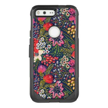 Vintage Bright Floral Pattern Fabric OtterBox Commuter Google Pixel Case
