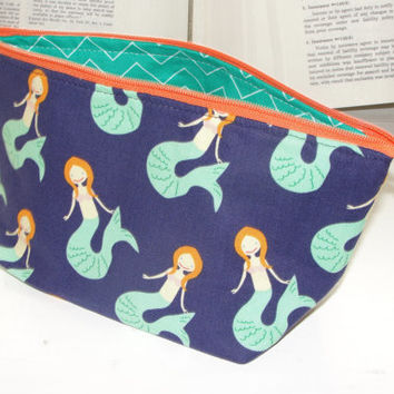 Small Wide Zipper Pouch, Handmade with Dear Stella Mermaids and Parrot Green Chevron Lining, Perfect for cosmetics, knitting, toiletries