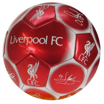 Liverpool FC  - Red Size 5 Ball With Team Signatures