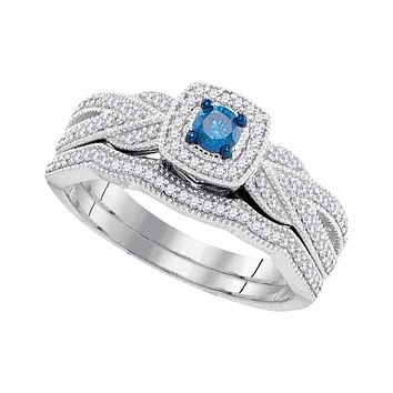 10kt White Gold Women's Round Blue Color Enhanced Diamond Milgrain Bridal Wedding Engagement Ring Band Set 3/8 Cttw - FREE Shipping (US/CAN)