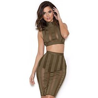 Rodrigo Khaki Bandage and mesh 3 piece set