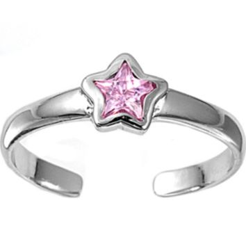 .925 Sterling Silver Pink Topaz Star Adjustable Ring for Ladies and Kids Midi or Toe