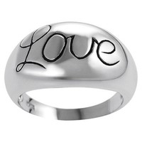 Tressa Sterling Silver Domed Love Ring - Silver