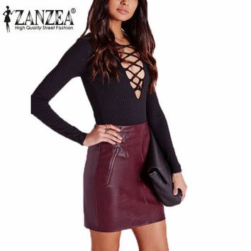 PEAPGB2 Zanzea Vintage New 2016 Women Soft PU Leather Skirt High Waist Slim Hip Pencil Skirts Zipper Sexy Bodycon Mini Skirt Clubwear