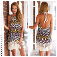 Sexy Backless Tassel Hem Summer Beach Boho Dress