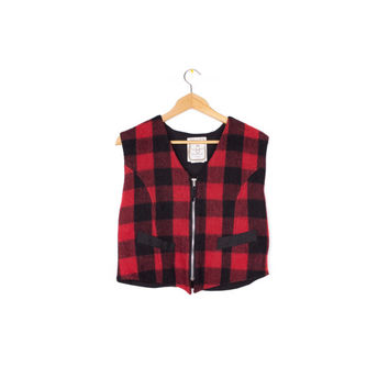 backpack vest - wool flannel red & black buffalo plaid