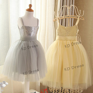 20% OFF!!! Straps Silver/Daffodil yellow Sequins Tulle Flower Girl Dress Children Birthday Party Dress Kids Dress with Sash (Z1013)