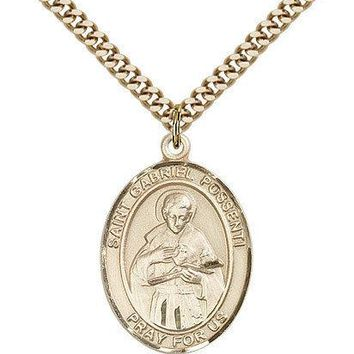 "Saint Gabriel Possenti Medal For Men - Gold Filled Necklace On 24"" Chain - 30... 617759029116"