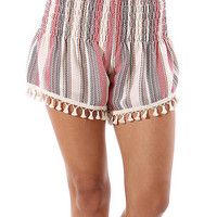 Honey Punch Coconut & Red Stripe Tassel Shorts | zulily